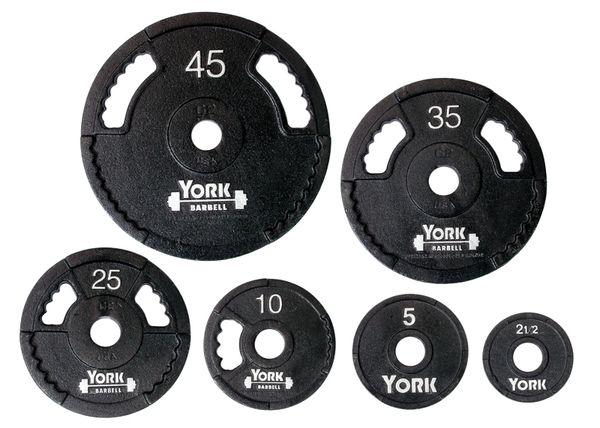 "YORK 2"" G-2 OLYMPIC DUAL GRIP THIN LINE CAST IRON WEIGHT PLATES LB, 2.5LB, 5LB, 10LB, 25LB, 35LB, 45LB, ITEM # 7420, 7421, 7422, 7423, 7424, 7425, Now Available, 24 June 2021, $1.95lb"