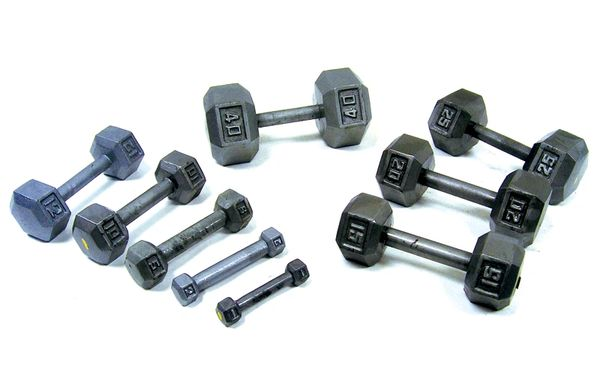 YORK CAST IRON HEX DUMBELLS (SINGLE), INCLUDES, 1 X 1LB, 2LB, 3LB, 4LB, 5LB, 8LB, 10LB, 12LB, 15LB, 20LB, 25LB, 30LB, 35LB, 40LB, 45LB, 50LB, 55LB, 55LB, 60LB, 65LB, 70LB, 75LB, 80LB ITEM # 3459-3479