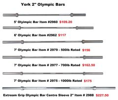 "YORK 2"" OLYMPIC BARS ITEM # 2960-2988"