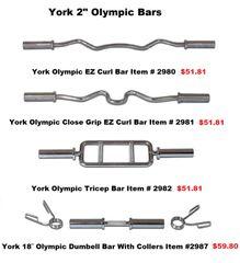 "YORK 2"" OLYMPIC BARS ITEM #2980 - 2987"