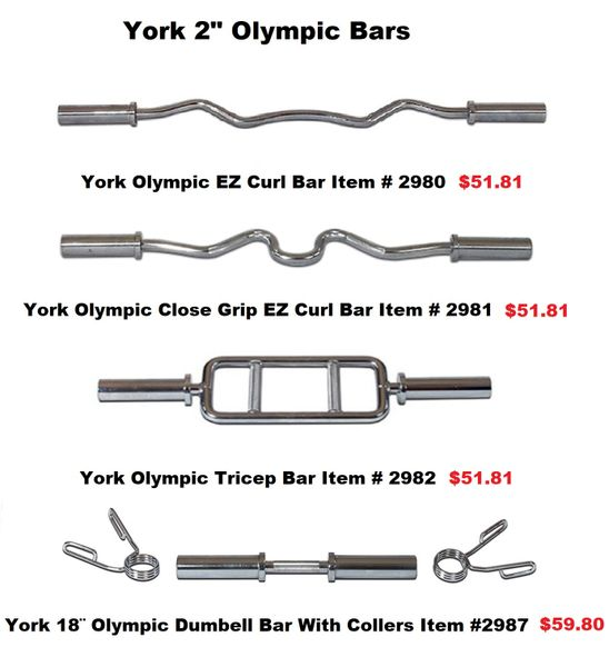 "YORK 2"" OLYMPIC BARS ITEM #2980 - 2987"