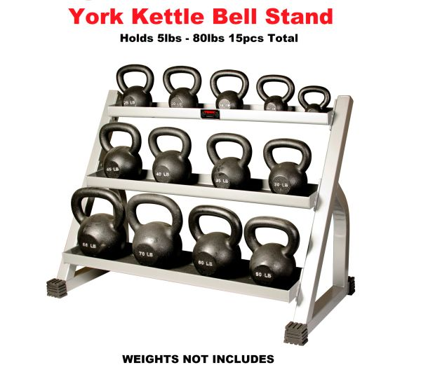 YORK KETTLE BELL STAND, RACK, TRAY, ITEM # 15100 HOLDS 15 PCS FROM 5LB TO 80LB