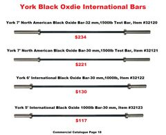 YORK BLACK OXIDE INTERNATIONAL BARS ITEM # 32120, 32121, 32122, 32123