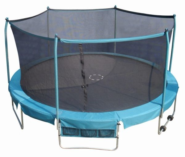 15' FOOT TRAMPOLINE & SAFETY NET ENCLOSURE COMBO, DELUXE INDUSTRIAL GRADE PLATINUM SERIES, ROLL AWAY WHEELS EASY TO MOVE 1 PERSON ,SHOE BAG,10 YR WARRANTY,GOOD FOR ADULTS OR KIDS