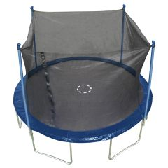 12' FT FOOT TRAMPOLINE & SAFETY NET ENCLOSURE COMBO SALE, BLUE BUMPER PAD,6 LEGS ON BASE, 10 YR WARRANTY