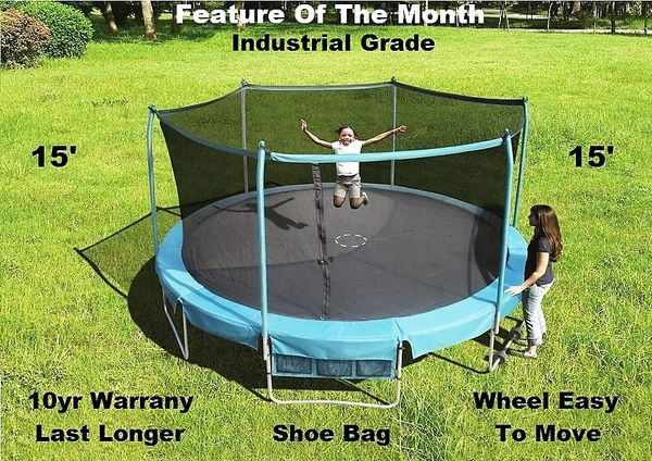 15' FOOT TRAMPOLINE & SAFETY NET ENCLOSURE COMBO, DELUXE INDUSTRIAL GRADE PLATINUM SERIES, ROLL AWAY WHEELS EASY TO MOVE 1 PERSON ,SHOE BAG,10 YR WARRANTY,GOOD FOR ADULTS OR KIDS, Now Taking Pre Orders for 29 March 2021,NEW SALE PRICE $425