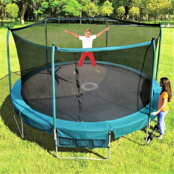 15' FOOT TRAMPOLINE & SAFETY NET ENCLOSURE COMBO, DELUXE INDUSTRIAL GRADE PLATINUM SERIES, ROLL AWAY WHEELS EASY TO MOVE 1 PERSON ,SHOE BAG,10 YR WARRANTY,GOOD FOR ADULTS OR KIDS, NEW SALE PRICE $499
