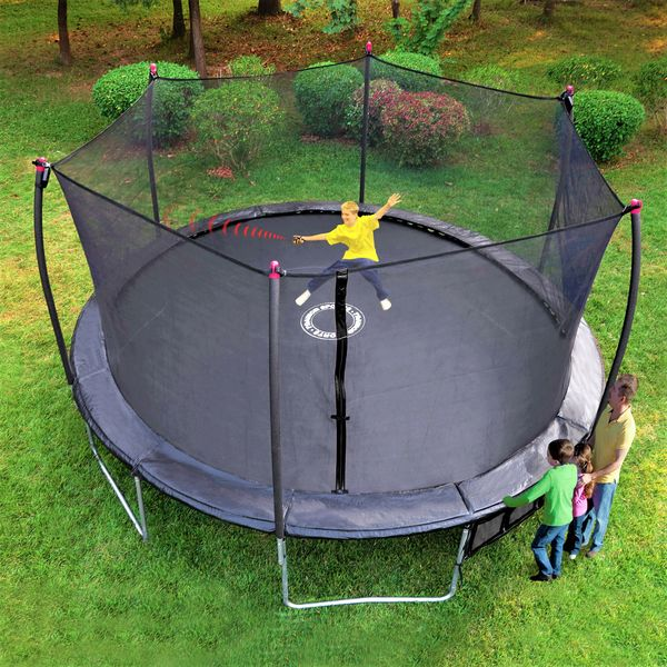 17' x 15' FOOT OVAL TRAMPOLINE & SAFETY NET ENCLOSURE COMBO, INDUSTRIAL GRADE, COMES WITH ELECTRONIC SHOOTING GAME, 10 YR WARRANTY, GOOD FOR ADULTS OR KIDS, Sale Price $559