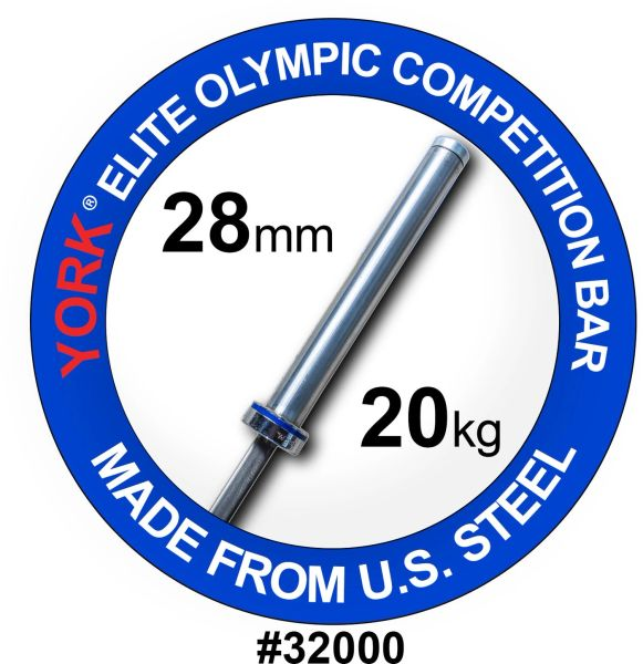 """YORK MENS 7' OLYMPIC """"ELITE"""" COMPETITON BAR–28 MM, ITEM 32000 NEEDEL-BEARING, SATIN CHROME FINISH, Now Available, 28 July 2021, $499"""
