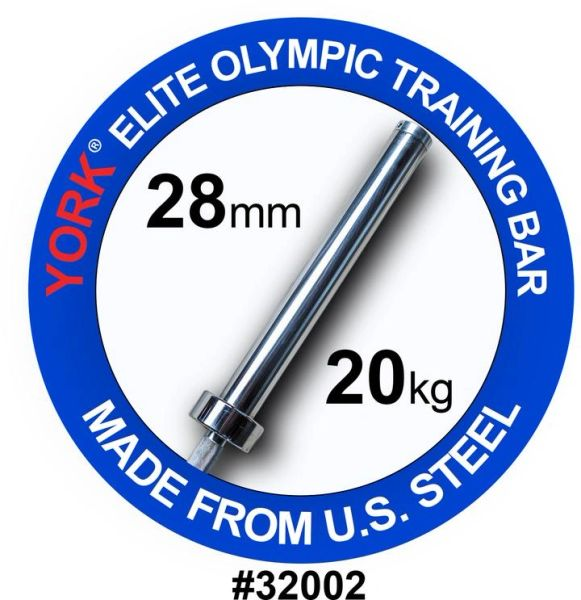 YORK BARBELL MENS 7' OLYMPIC ELITE TRAINING BAR-28MM, ITEM 32002, Now Available 2021, $399