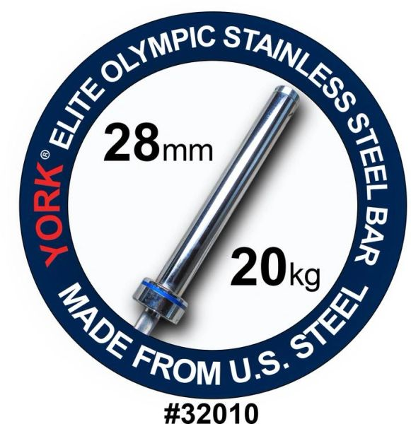 """YORK BARBELL MENS 7' OLYMPIC """"ELITE"""" STAINLESS STEEL COMPETION BAR-28MM, ITEM 32000, Now Available, 28 July 2021, $699"""