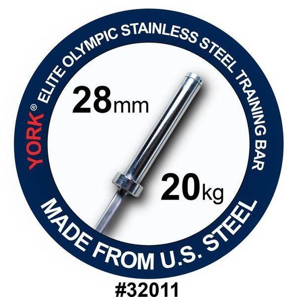 """YORK BARBELL, MENS 7' OLYMPIC """"ELITE"""" TRAINING BAR-28MM, STAINLESS STEEL ITEM 32"""