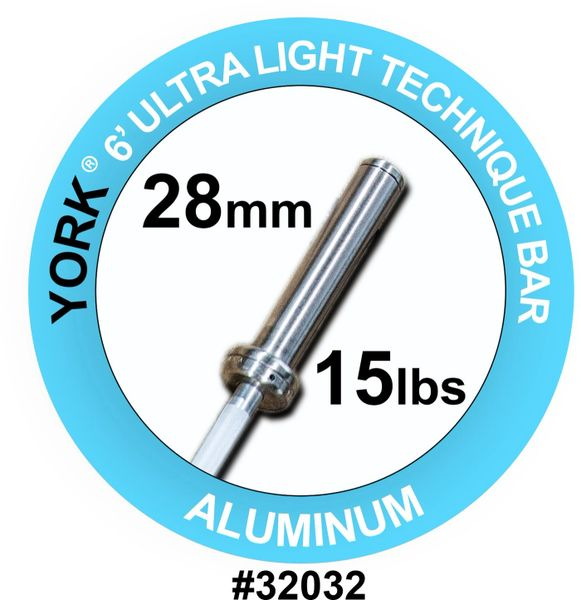 YORK BARBELL 6' INTERNATIONAL ULTRA-LIGHT ALUMINUM TECHNIQUE BAR-28MM, ITEM 32032, 28 July 2021, $199