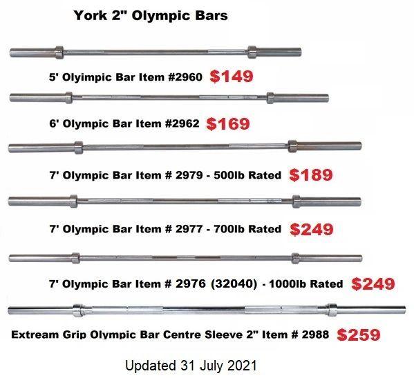 "YORK 2"" OLYMPIC 5' BARS, 6' BARS, 7' BARS ITEM # 2960-2988, 31 July 2021"