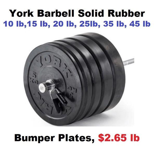 """YORK 2"""" BLACK SOLID RUBBER TRAINING BUMPER PLATES,10 LB, 15 LB, 25 LB, 35 LB, 45 LB, ITEM # 29067, 29068, 29069, 29070, 29071, $2.65 lb, Now Available, 24 June 2021"""