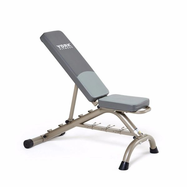 YORK BARBELL MULTI-POSITION FITNESS BENCH PRESS W/ FITBELL STORAGE, ITEM 45071, 21 Sept 2021, Now Available, $195