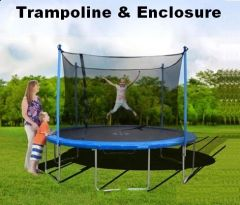 12' Foot Trampoline & Enclosure Safety Net, Blue Bumper Pad,6 Legs On base, 10 YR Warranty