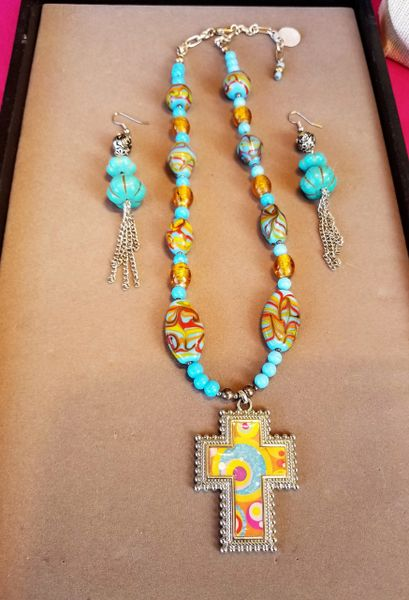 Santa Fe multi-colored cross necklace set