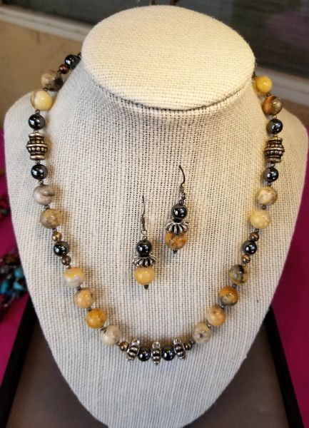 "Ocean Jasper ""desert delight"" necklace set"