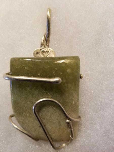 Jadeite wrapped in argentium silver