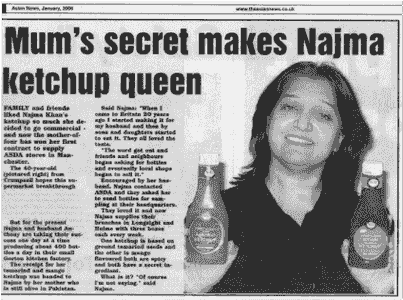 Najma Khan. Ketchup Queen news article extract with najma holding naj sweet & spicy mango sauce