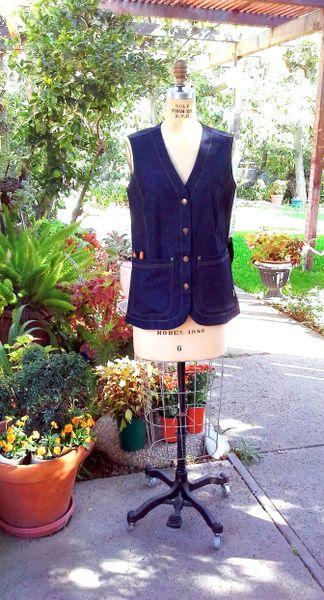 Denim Garden Vest: Lily Print or Solid Indigo