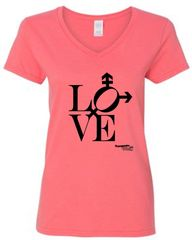 Love design on Feminine V-Neck Short Sleeve Tee