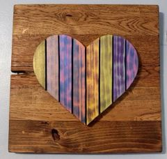 Handmade and hand painted Iridescent Heart wood decor piece