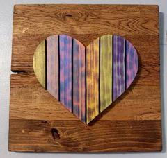 Handmade and hand painted Iridescent Heart wood decor piece