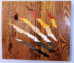 Handmade and hand painted Bear Claw marks wood decor piece