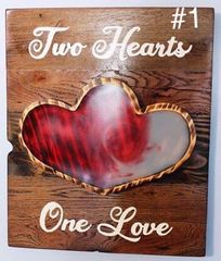 Handmade Wood and resin Two Hearts One Love decor piece