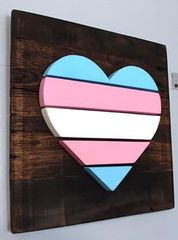 Handmade and hand painted Trans Heart wood decor piece