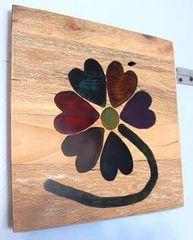 Handmade Resin Hearts wood decor piece