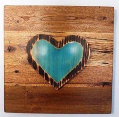 Handmade Blue Resin Heart wood decor piece