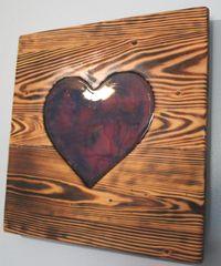 Handmade Bi Colors Swirl Resin Heart wood decor piece