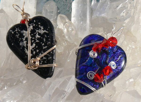 Dichroic Glass Memorial Wire Wrapped Heart Pendant