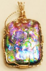 Dichroic Glass Memorial Wire Wrapped Rectangle Pendant