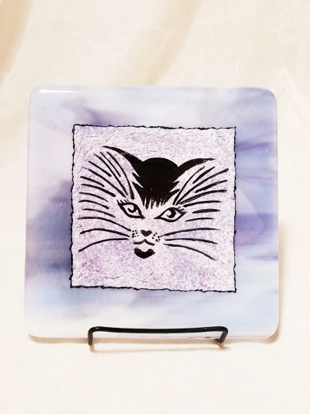 Fused glass Paintings: Purple Cat