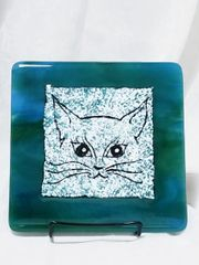Fused glass Paintings: Teal Cat