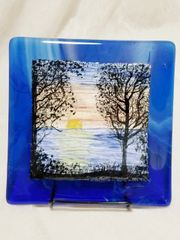 Fused glass Paintings:: Sunset Lake