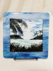 Fused glass Paintings: Blue Hawaii