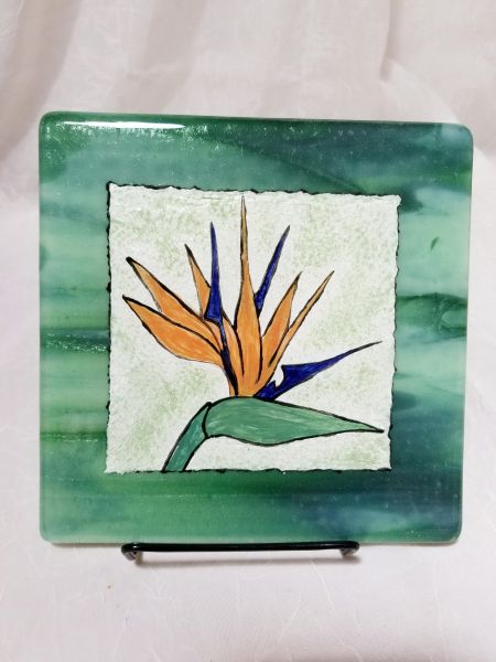 Fused glass Paintings: Bird of Paradise