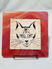Fused glass Paintings: Red Cat