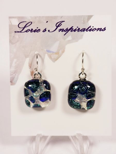 Dichroic Fused Glass Earrings: Emerald Green Champagne Bubbles