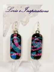 Dichroic Fused Glass Earrings : Streamers and Paisley