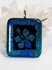 Dichroic Fused Glass Pendant: Teal Hibiscus