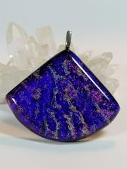 Dichroic Fused Glass Pendant: Royal Fan