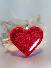 Dichroic Fused Glass Pendant: Red Heart