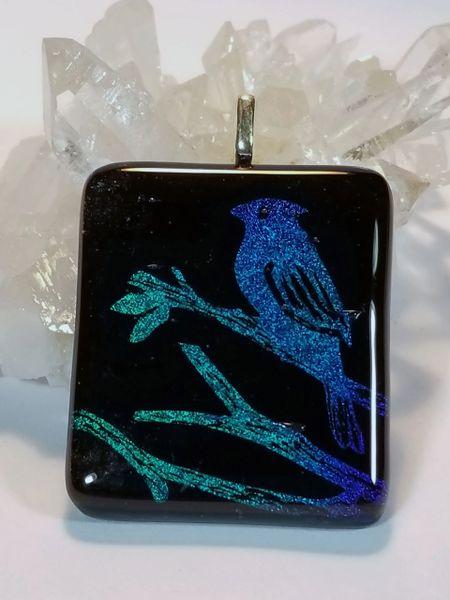 Dichroic Fused Glass Pendant: Bird on a limb