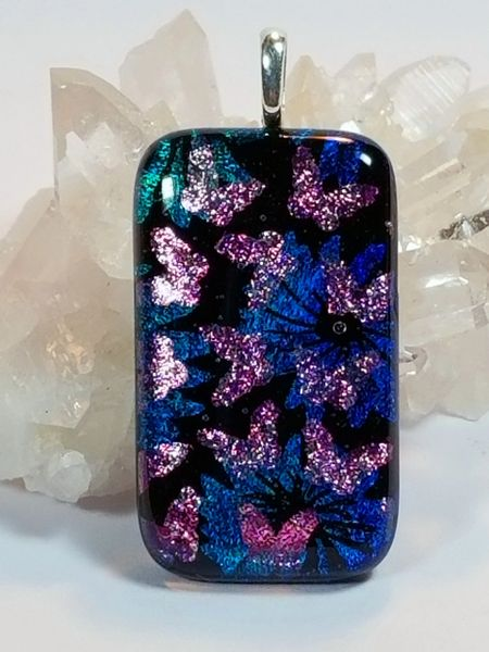 Dichroic Fused Glass Pendant: Spring Butterflies